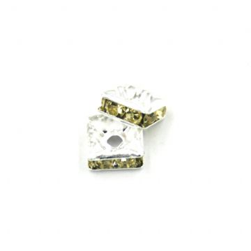 100pcs x 6mm Silver plated square rhinestone spacer bead with lemon yellow colour stone - 8010009